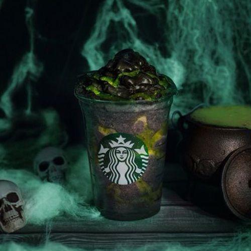 """<p>Let's get spooky! For 5 days beginning on Oct. 26, Starbucks guests in Europe can <a href=""""https://stories.starbucks.com/emea/stories/2019/the-new-starbucks-phantom-frappuccino-is-scarily-good/"""" rel=""""nofollow noopener"""" target=""""_blank"""" data-ylk=""""slk:order the Phantom Frappuccino"""" class=""""link rapid-noclick-resp"""">order the Phantom Frappuccino</a>, which is a blend of coconut milk, mango, pineapple essence, and Starbucks crème Frappuccino syrup, with """"lime slime"""" and charcoal powder to complete the creepy look. This vegan sip is getting us even more excited for Halloween!</p>"""