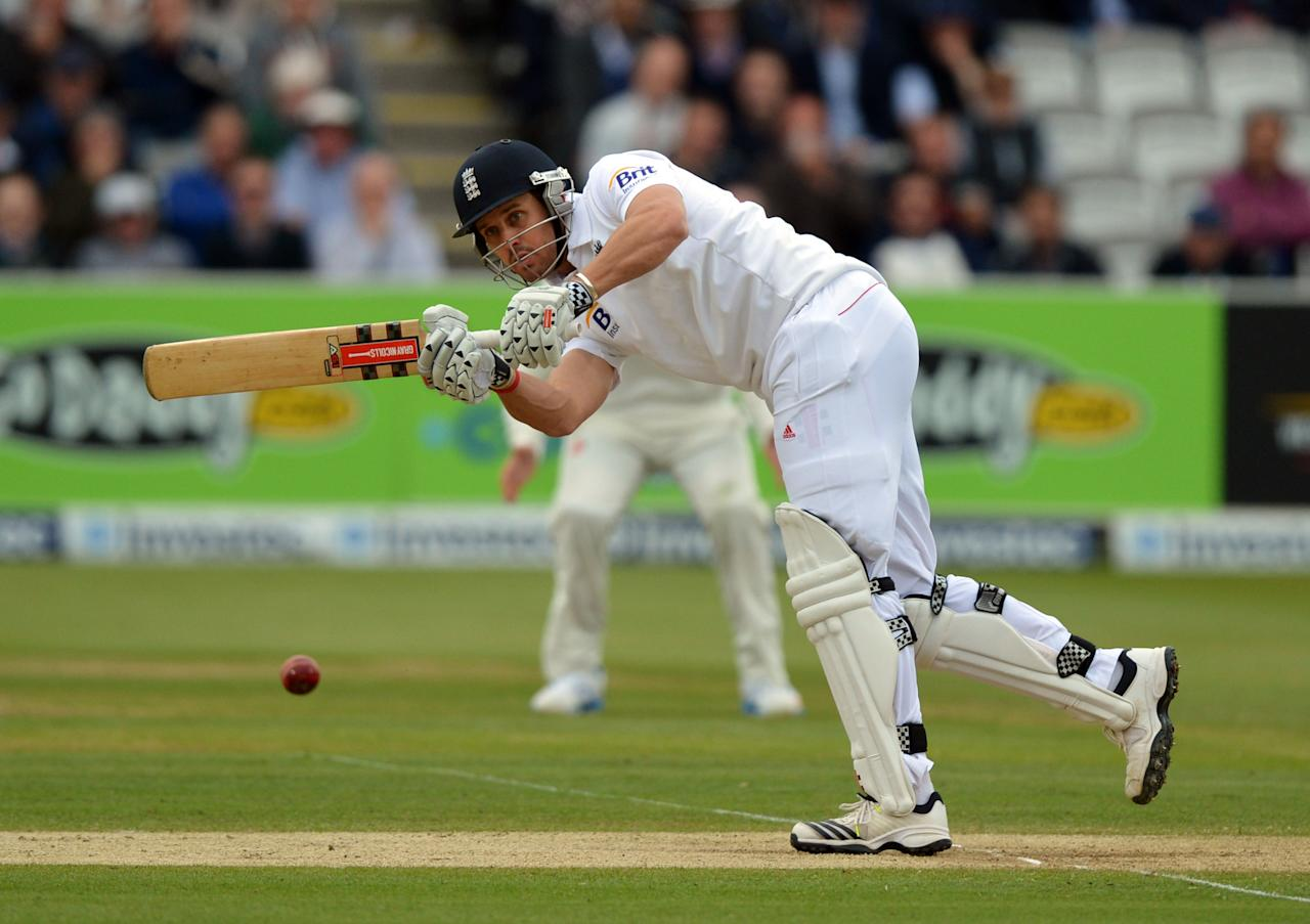 England's Nick Compton bats during the first test at Lord's Cricket Ground, London.