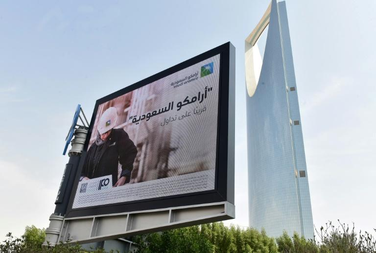 Aramco has launched an advertising blitz, with billboards and promotional messages at shopping malls and ATMs across the kingdom