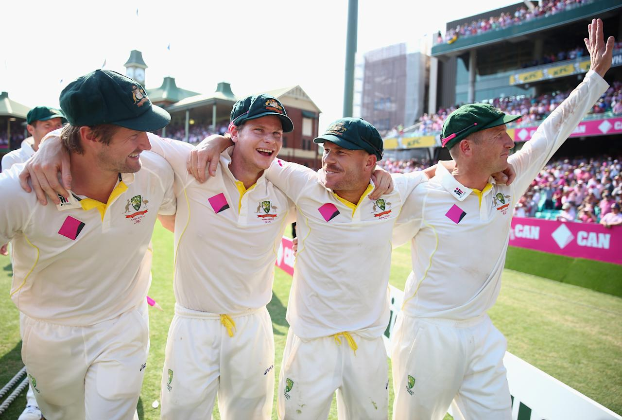 SYDNEY, AUSTRALIA - JANUARY 05:  Shane Watson, Steve Smith, David Warner, and Brad Haddin of Australia celebrate victory during day three of the Fifth Ashes Test match between Australia and England at Sydney Cricket Ground on January 5, 2014 in Sydney, Australia.  (Photo by Ryan Pierse/Getty Images)