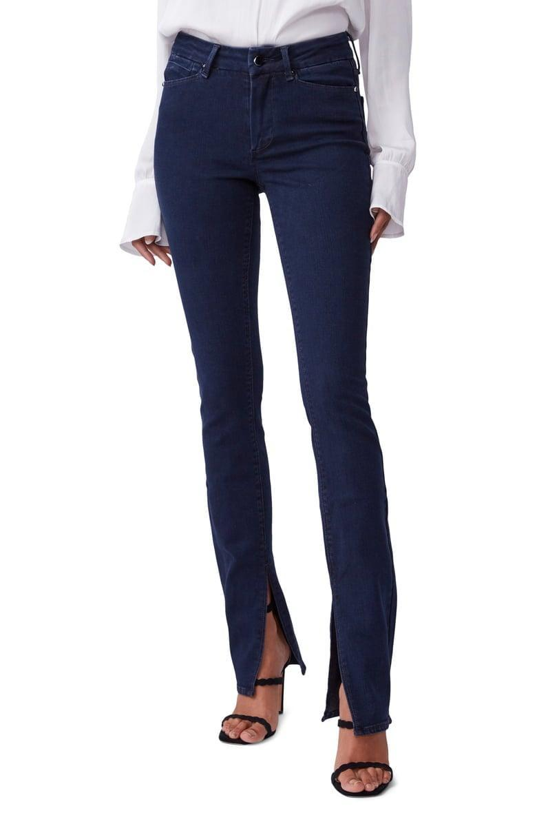 <p>These <span>Paige Constance High Waist Long Split Hem Slim Jeans</span> ($259) are ridiculously flattering.</p>