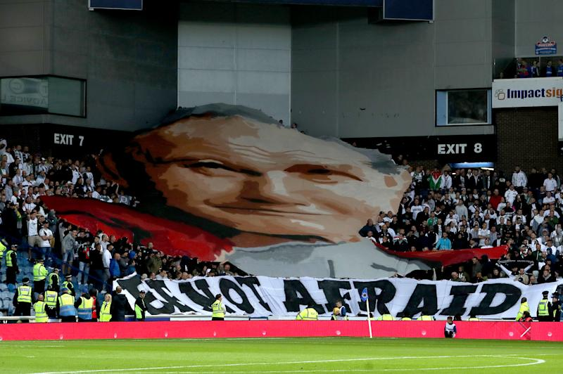 Legia Warsaw fans unveil a banner of Pope John Paul II and one that reads 'Be Not Afraid' during the UEFA Europa League match at Ibrox Stadium, Glasgow. (Photo by Jane Barlow/PA Images via Getty Images)