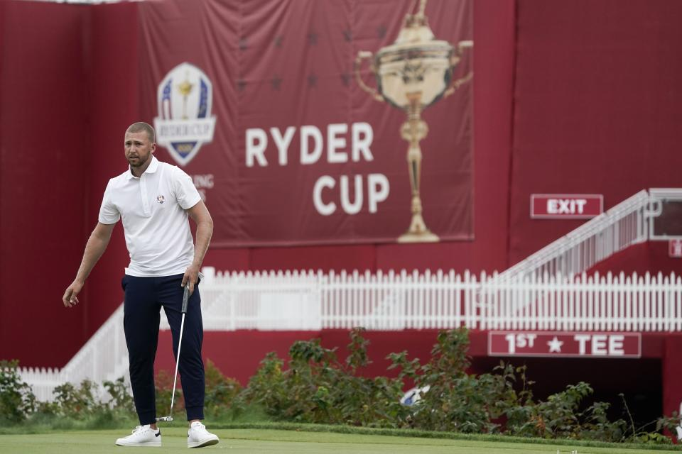 Team USA's Daniel Berger putss on a practice green at the Whistling Straits Golf Course Monday, Sept. 20, 2021, in Sheboygan, Wis. (AP Photo/Morry Gash)