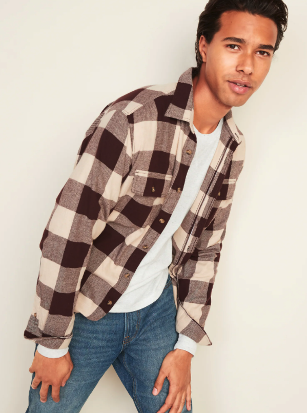 Regular-Fit Built-In Flex Patterned Flannel Shirt. Image via Old Navy.