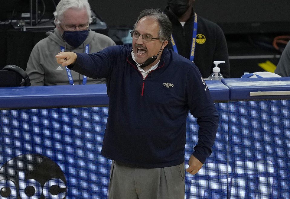 New Orleans Pelicans coach Stan Van Gundy yells to his players during the first half against the Golden State Warriors in an NBA basketball game on Friday, May 14, 2021, in San Francisco. (AP Photo/Tony Avelar)