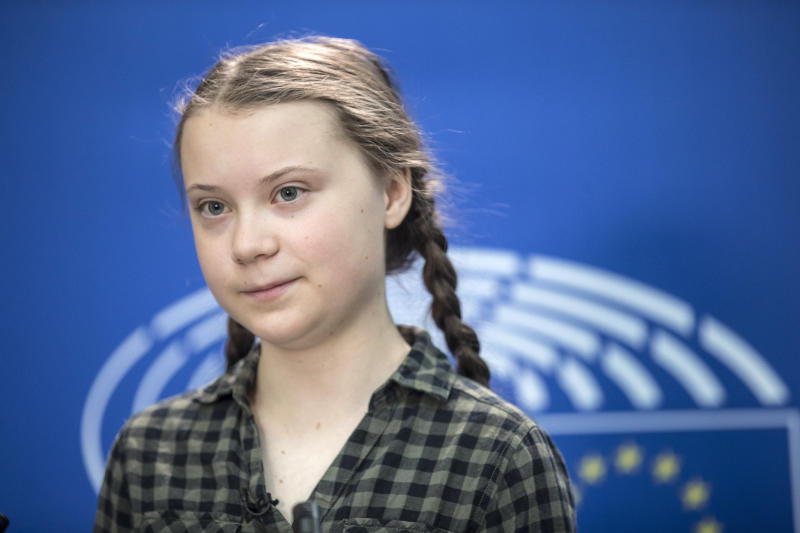 Swedish environmental activist Greta Thunberg speaks to the media at the European Parliament in Strasbourg, Eastern France, Tuesday April 16, 2019. (AP Photo/Jean-Francois Badias)