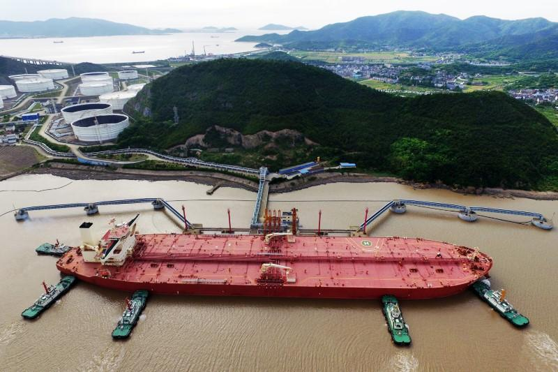 Oil tanker is seen at a crude oil terminal in Ningbo Zhoushan port