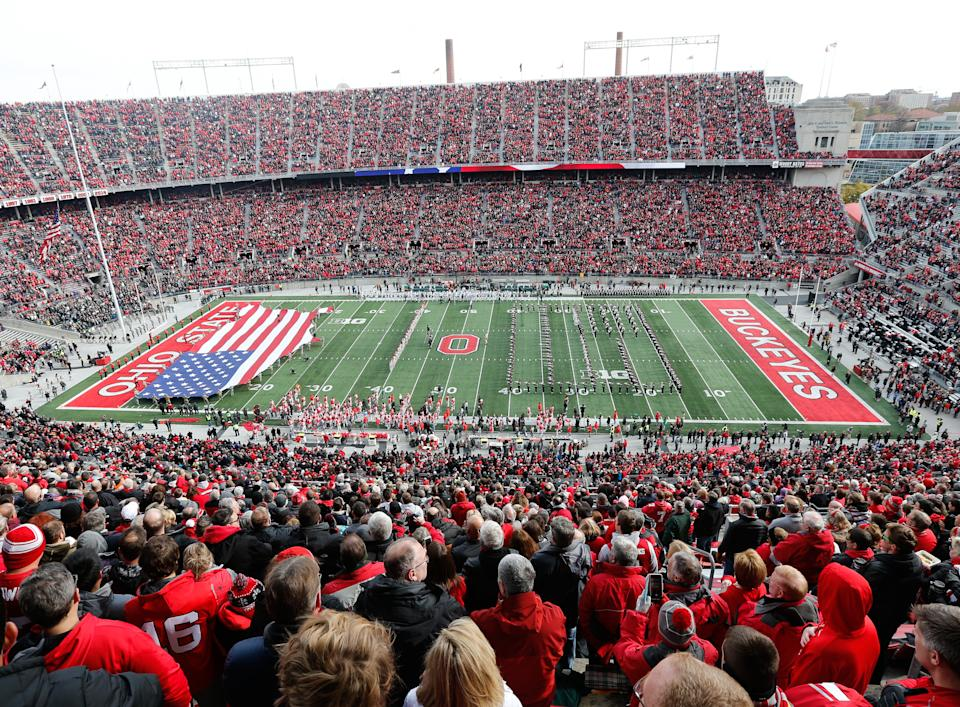COLUMBUS, OH - NOVEMBER 11:  A general overview of the large American flag displayed in the end zone during the playing of the national anthem by the Ohio State Marching Band prior to the start of the game between the Michigan State Spartans (13) and the Ohio State Buckeyes (11) on November 11, 2017 at Ohio Stadium in Columbus, Ohio.  Ohio State defeated Michigan State 48-3.  (Photo by Scott W. Grau/Icon Sportswire via Getty Images)