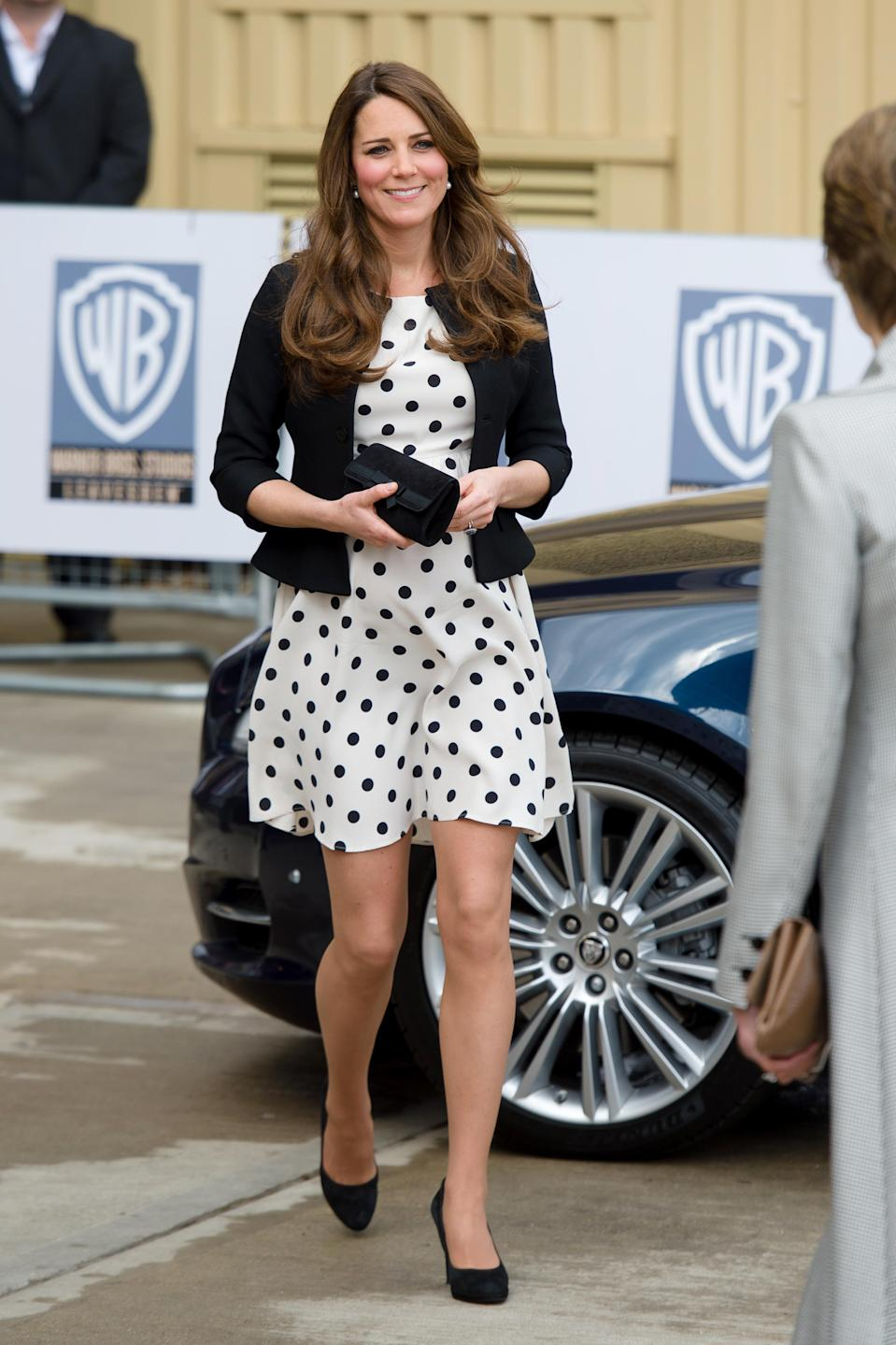 <p>The Duchess of Cambridge donned a polka dot dress by Topshop to visit the Harry Potter studios back in 2013. The dress fell victim to the 'Kate Effect' and sold out within minutes. <em>[Photo: Getty]</em> </p>