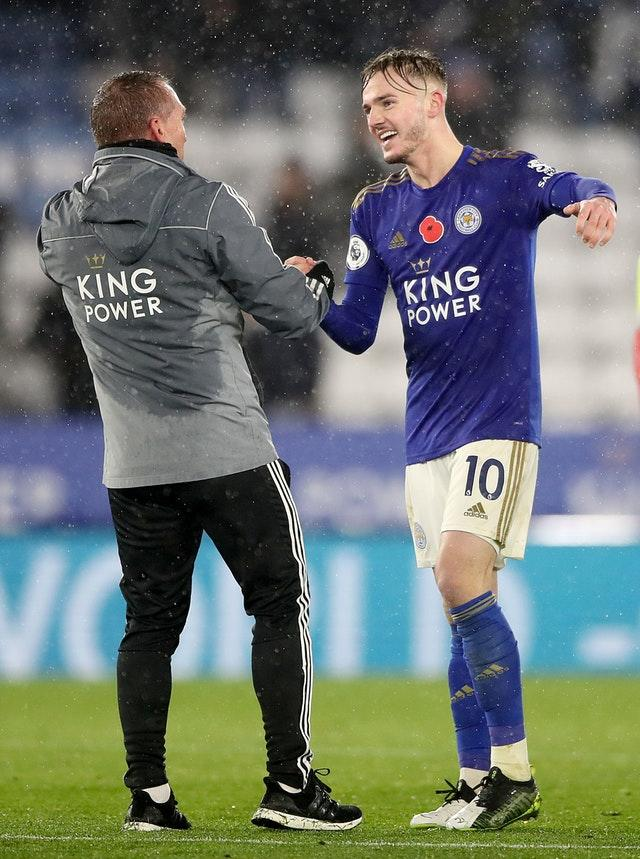 Leicester boss Brendan Rodgers (left) celebrates the win with James Maddison (Nick Potts/PA)
