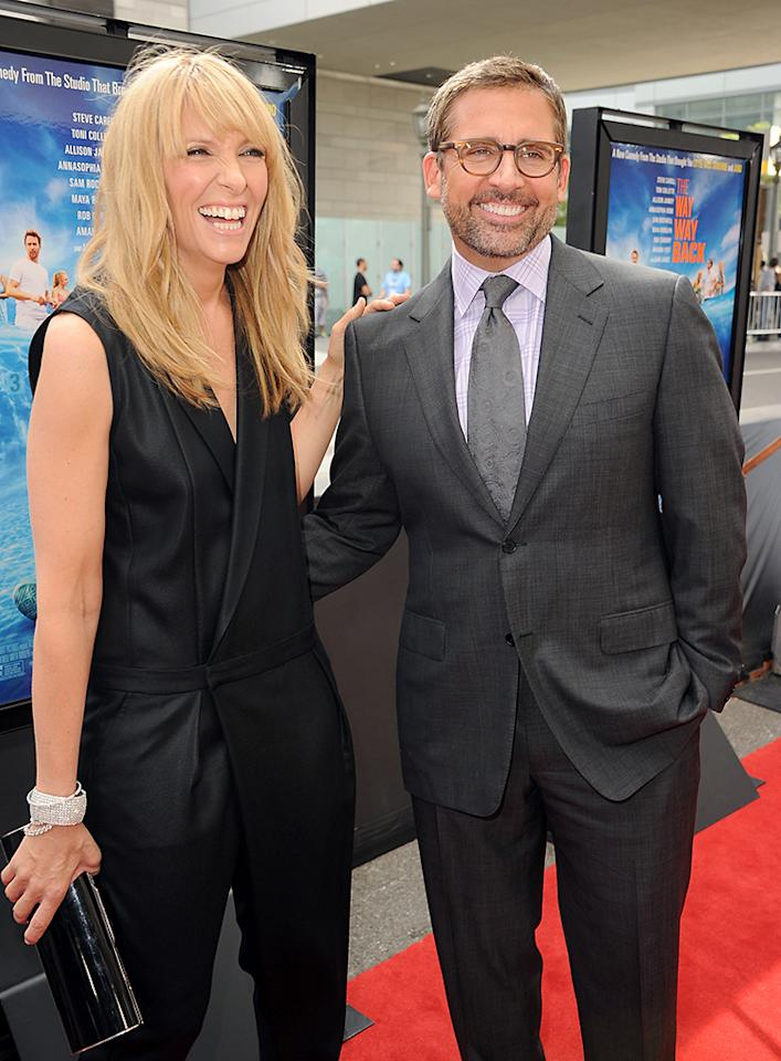 """LOS ANGELES, CA - JUNE 23:  Actors Toni Collette (L) and Steve Carell attend the premiere of Fox Searchlight Pictures' """"The Way, Way Back"""" at Regal Cinemas L.A. Live on June 23, 2013 in Los Angeles, California.  (Photo by Kevin Winter/Getty Images)"""