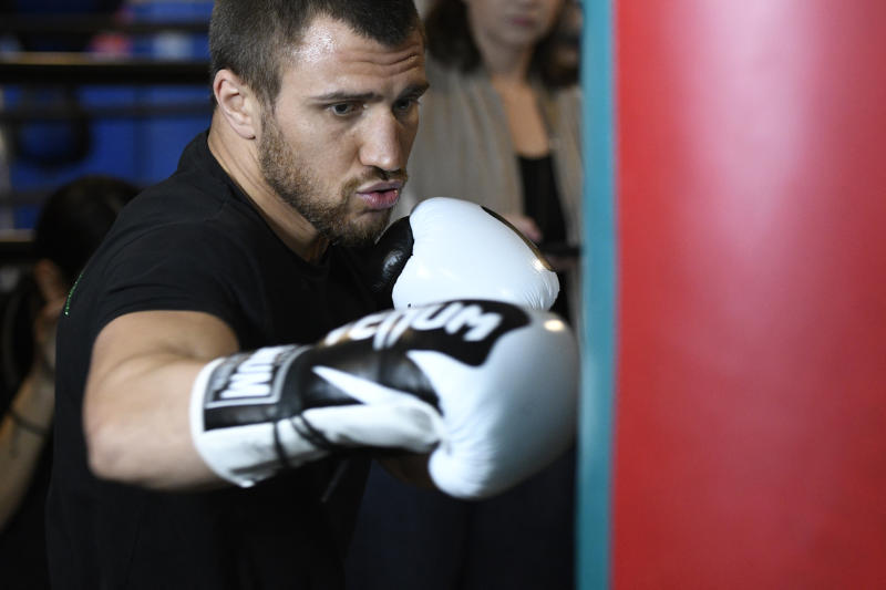 LOS ANGELES, CA - MARCH 11: WBO/WBA lightweight world champion Vasiliy Lomachenko works out at Fortune Gym on March 11, 2019 in Los Angeles, California. (Photo by John McCoy/Getty Images)