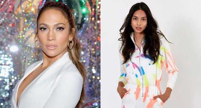 Jennifer Lopez wore a neon tie dye jumpsuit during a lunch date in Miami (Images via Getty Images/Lezat)