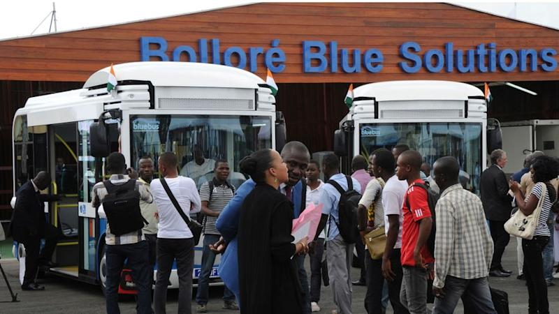 The batteries at this electric bus charging station in Abidjan, Ivory Coast, are powered by solar energy.