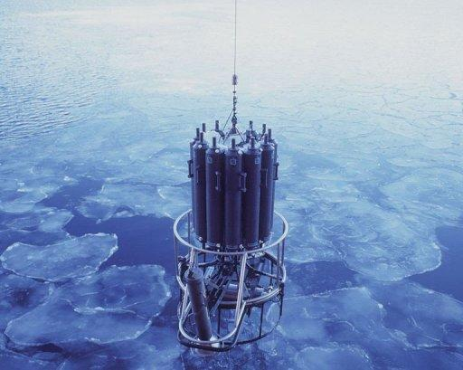 Ocean-measuring instruments are lowered through pancake ice to sample water at various levels from the seafloor to the surface. The densest waters of Antarctica have reduced dramatically over recent decades, in part due to man-made impacts on climate, Australian scientists said on May 4, 2012