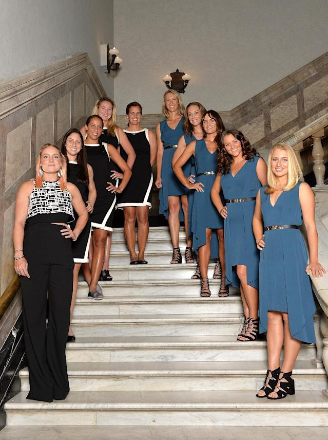 BRISBANE, AUSTRALIA - APRIL 14: (L-R) Bethanie Mattek-Sands, Christina McHale, Madison Keys, Coco Vandeweghe, Mary Joe Fernandez, Alicia Molik, Samantha Stosur, Arina Rodionova, Casey Dellacqua and Daria Gavlirova pose for a photo during the Fed Cup Official Dinner on April 14, 2016 in Brisbane, Australia. (Photo by Bradley Kanaris/Getty Images)