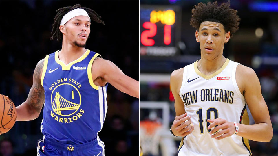 Damion Lee dribbling the basketball and Jaxson Hayes during a match.