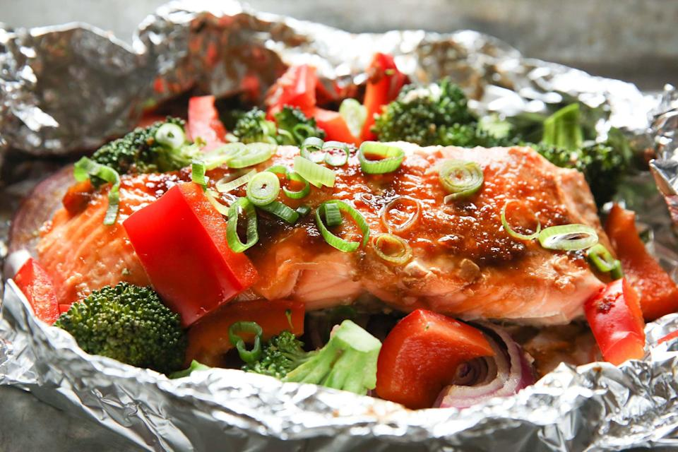 "<p><a href=""https://www.delish.com/uk/cooking/recipes/g29843028/healthy-salmon-recipes/"" rel=""nofollow noopener"" target=""_blank"" data-ylk=""slk:Salmon"" class=""link rapid-noclick-resp"">Salmon</a> tray bake is one of the easiest and versatile meals around. </p>"