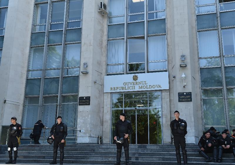 Moldovan police forces were guarding the government headquarters in the capital Chisinau
