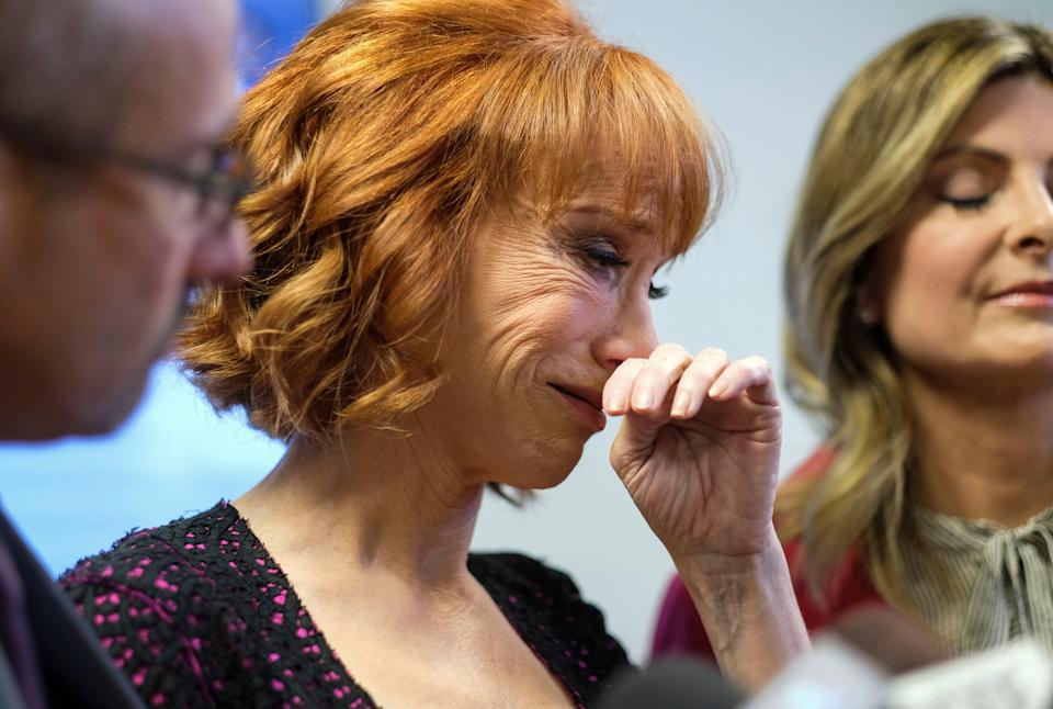 Comedian Kathy Griffin (C) cries during a news conference in Woodland Hills, Los Angeles, California, U.S., June 2, 2017. REUTERS/Ringo Chiu     TPX IMAGES OF THE DAY