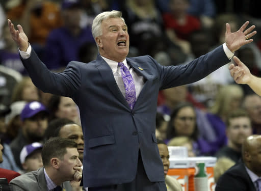 Kansas State head coach Bruce Weber yells at an official during the first half of an NCAA college basketball game against TCU in the quarterfinals of the Big 12 conference tournament in Kansas City, Mo., Thursday, March 14, 2019. (AP Photo/Orlin Wagner)