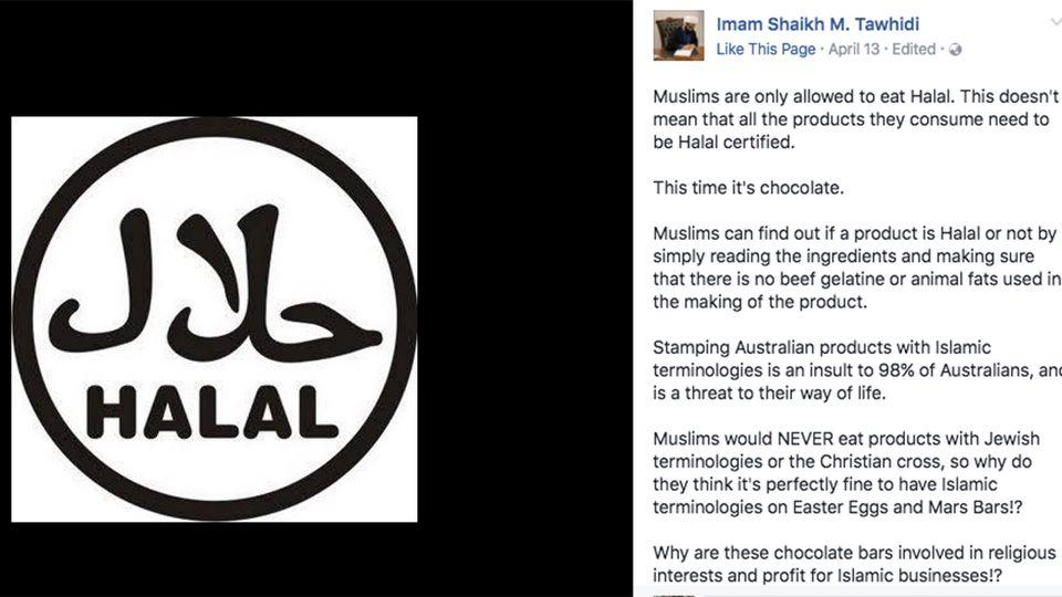 The Facebook message in which the Imam speaks out against halal certified eggs. Photo: Facebook