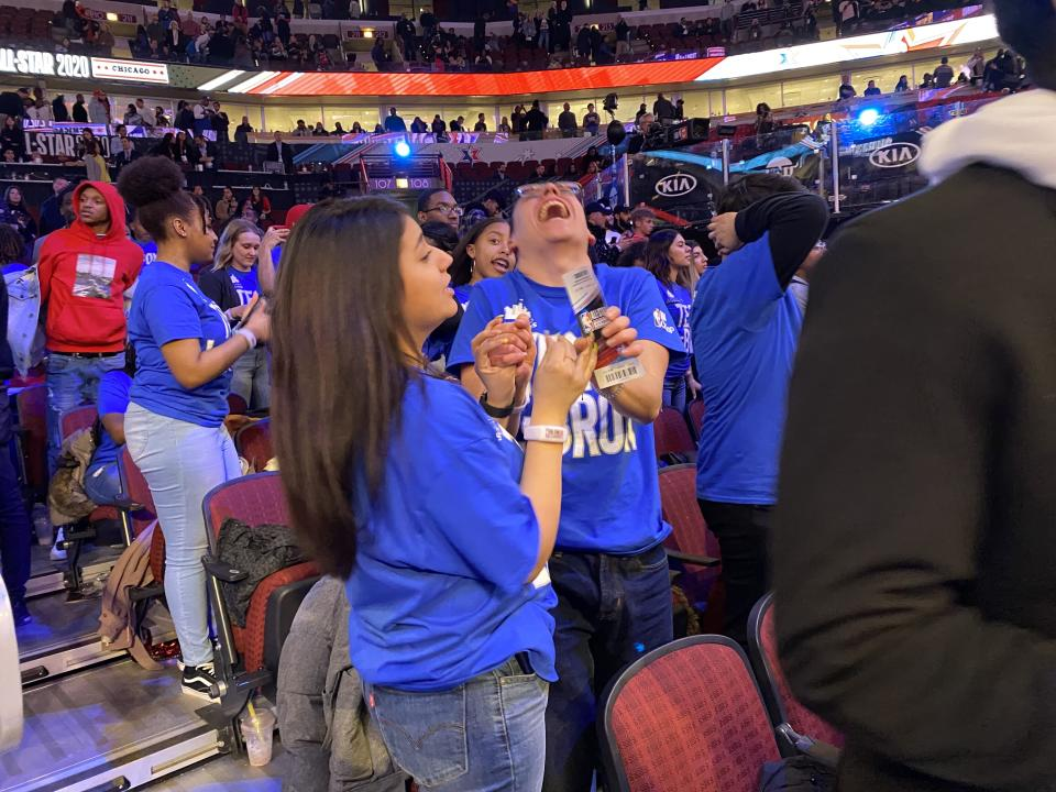 Chicago Scholars celebrate Team LeBron's victory. (Henry Bushnell/Yahoo Sports)