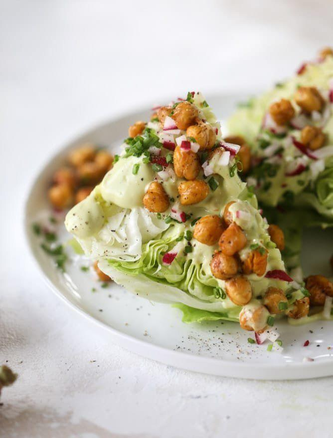 """<strong>Get the<a href=""""https://www.howsweeteats.com/2018/06/chickpea-wedge-salads/"""" target=""""_blank"""">Crispy Chickpea Wedge Salad with Avocado Ranch</a>recipe from How Sweet Eats</strong>"""