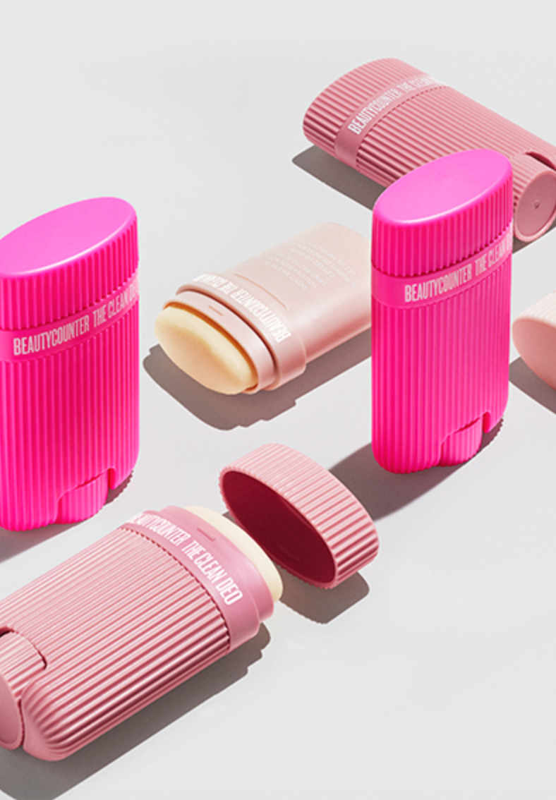 Beautycounter's Clean Deo comes in three different scents: Clean Rose (hot pink tube), Soft Lavender (mauve tube), and Fresh Coconut (pale pink tube).