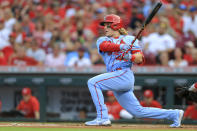St. Louis Cardinals' Harrison Bader watches his RBI single during the second inning of the team's baseball game against the Cincinnati Reds in Cincinnati, Saturday, July 24, 2021. (AP Photo/Aaron Doster)
