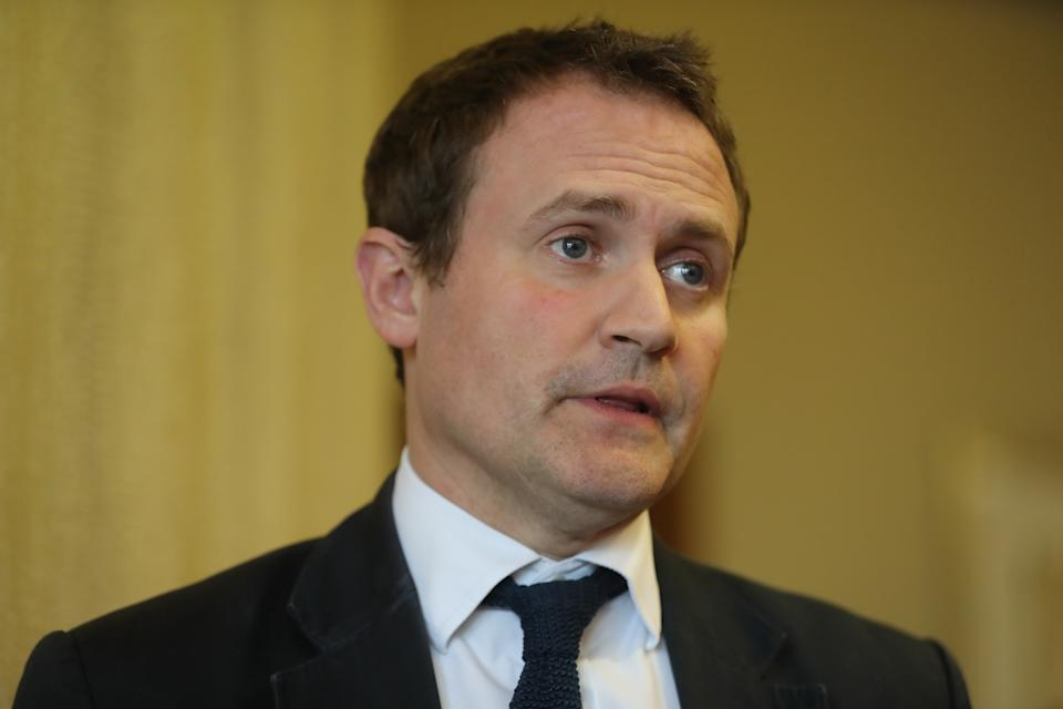Committee chairman Tom Tugendhat speaking to the media at the Armagh city hotel as members of the Commons Foreign Affairs Committee came to Northern Ireland to discuss foreign policy and Brexit. (Photo by Niall Carson/PA Images via Getty Images)