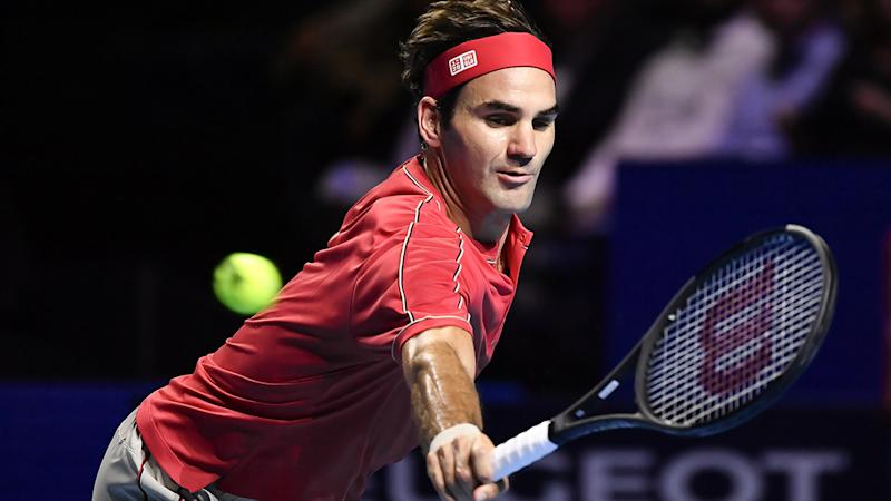 Roger Federer, pictured here in action at the Swiss Indoors in Basel.