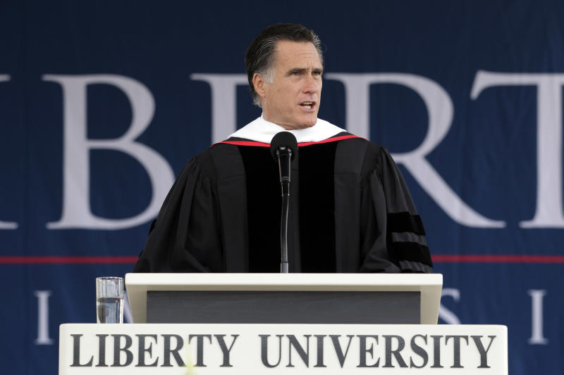 Republican presidential candidate, former Massachusetts Gov. Mitt Romney delivers the commencement address at the Liberty University in Lynchburg, Va, Saturday, May 12, 2012. (AP Photo/Jae C. Hong)