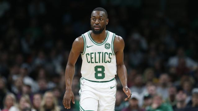 Boston Celtics' Kemba Walker plays against the Charlotte Hornets during the first half of a preseason NBA basketball game in Boston, Sunday, Oct. 6, 2019. (AP Photo/Michael Dwyer)