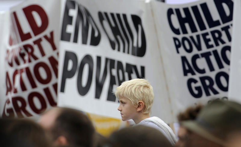 A think tank has analysed political parties' manifestos to predict the risk levels of child poverty. Photo: Toby Melville/Reuters