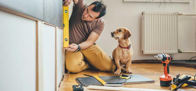 Man measuring cabinets with dog by his side.