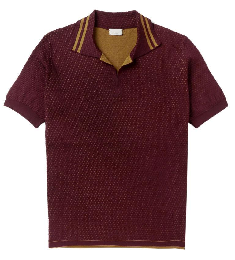 "<p><strong>Slim Fit Double Faced Cotton Polo</strong></p><p>This Dries Van Noten is everything you could want in an old-school polo. Take note of the burgundy and saffron colors and athletic stripes—everything that's great about retro, done exactly right. </p><p><em>$590, <a rel=""nofollow"" href=""https://www.mrporter.com/en-us/mens/dries_van_noten/slim-fit-double-faced-cotton-polo-shirt/808890"">mrporter.com</a></em></p>"