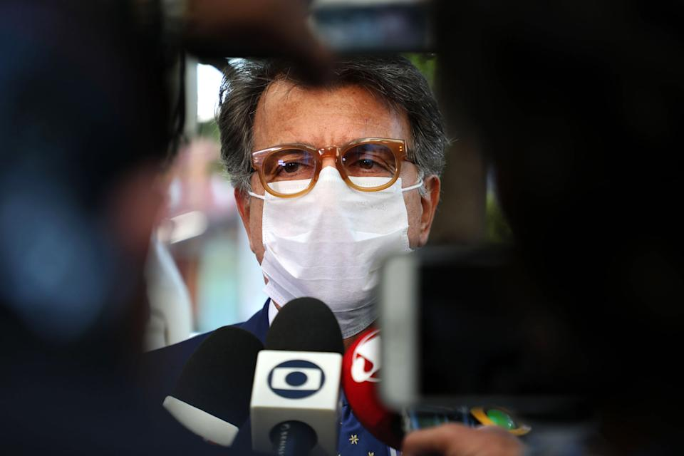 Brazil's businessman Paulo Marinho speaks outside the Federal Police Headquarters in Rio de Janeiro, Brazil on May 26, 2020. - The Brazilian Federal Police carried out searches, as part of the Operation Placebo, at the official residence of the governor of Rio de Janeiro, Wilson Witzel, and at the homes of Brazilian former Secretary of Health Edmar Santos and former undersecretary Gabriel Neves. The operation is part of an investigation of the misappropriation of funds and fraud in the bidding processes for the purchase of equipment and supplies intended to combat the new coronavirus in Rio de Janeiro. (Photo by FABIO MOTTA / AFP) (Photo by FABIO MOTTA/AFP via Getty Images)