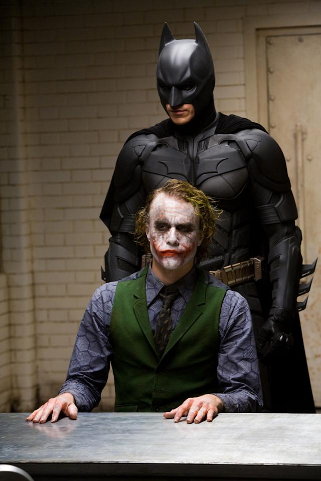 "<a href=""http://movies.yahoo.com/movie/contributor/1800018597"">Christian Bale</a> as Batman and <a href=""http://movies.yahoo.com/movie/contributor/1800018553"">Heath Ledger</a> as the Joker in Warner Bros. Pictures' <a href=""http://movies.yahoo.com/movie/1809271891/info"">The Dark Knight</a> - 2008"