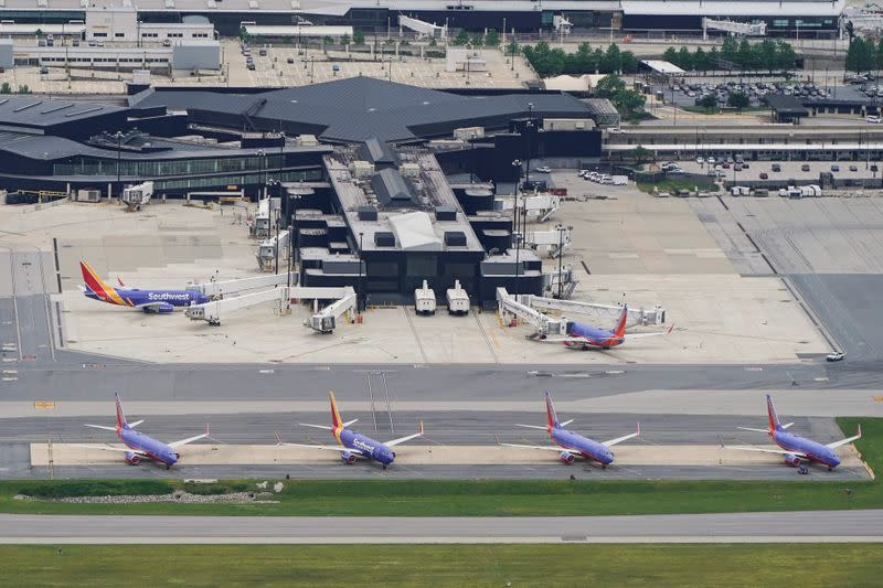 Southwest Airlines jets are parked at Baltimore Washington International Airport in Baltimore, Maryland