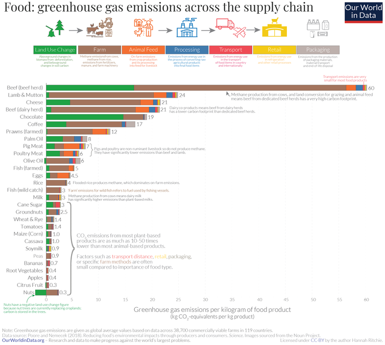 Chart showing greenhouse gas emissions for various foods