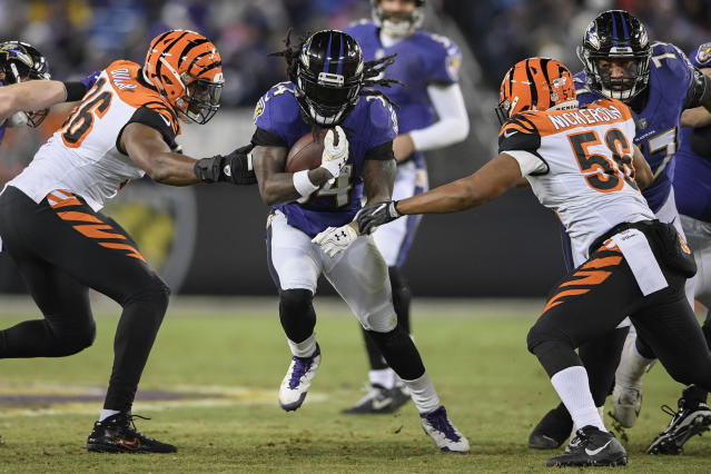 Baltimore Ravens running back Alex Collins has more fantasy appeal than the public assumes. (AP Photo/Nick Wass)