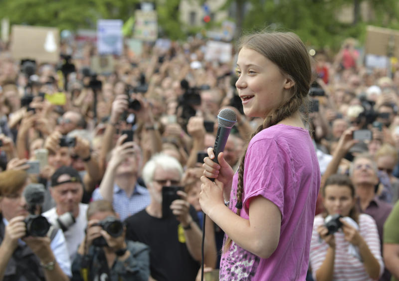Swedish climate activist Greta Thunberg takes part in the school strike demonstration Fridays for future in Berlin, Germany, July 19, 2019. (Paul Zinken/dpa via AP)