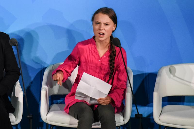 Youth activist Greta Thunberg speaks at the Climate Action Summit at the United Nations in New York City.