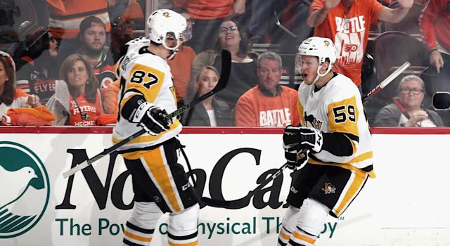 "Jake Guentzel scored four goals in Game 6 of Pittsburgh's first round series against the <a class=""link rapid-noclick-resp"" href=""/nhl/teams/phi"" data-ylk=""slk:Philadelphia Flyers"">Philadelphia Flyers</a> (Photo by Bruce Bennett/Getty Images)"