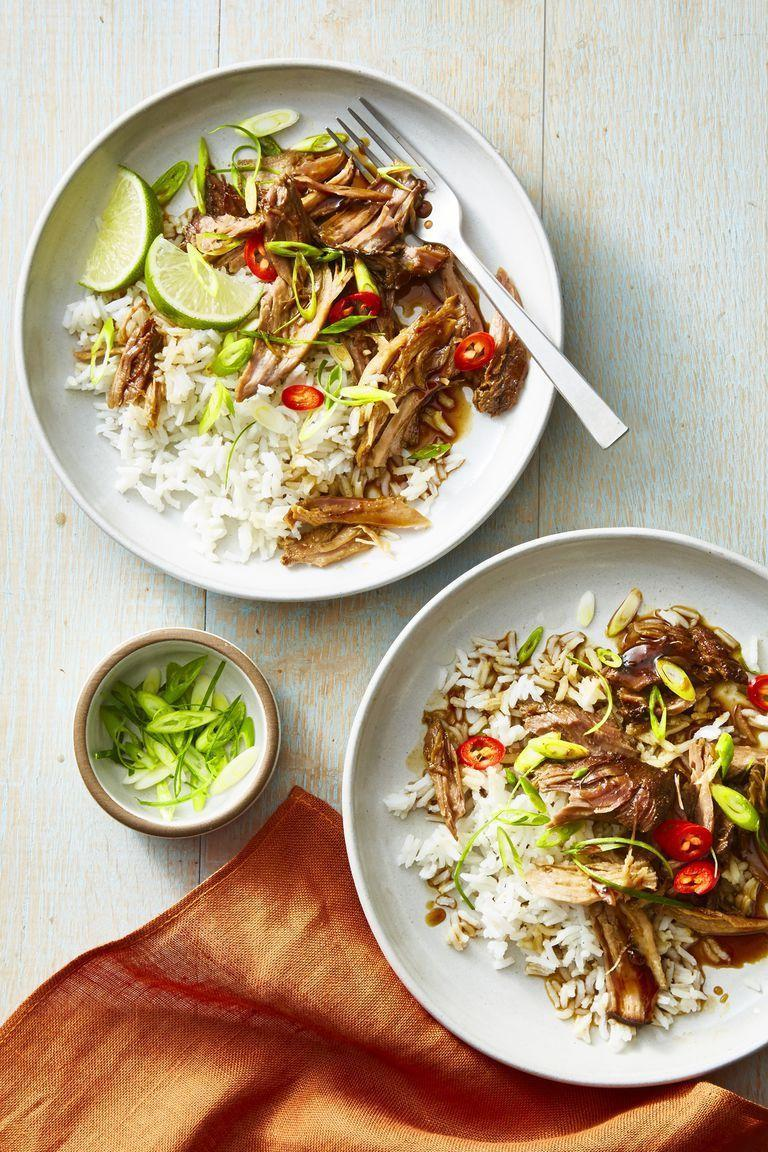"""<p>A splash of maple syrup balances out the spiciness of the chile-infused shredded pork. Just make sure you use a light hand with the maple syrup if you really want to keep things healthy. </p><p><em><a href=""""https://www.goodhousekeeping.com/food-recipes/easy/a23694683/maple-glazed-five-spice-pork-recipe/"""" rel=""""nofollow noopener"""" target=""""_blank"""" data-ylk=""""slk:Get the recipe for Maple-Glazed Five-Spice Pork »"""" class=""""link rapid-noclick-resp"""">Get the recipe for Maple-Glazed Five-Spice Pork »</a></em></p>"""