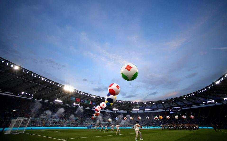 A general view inside the stadium as the opening ceremony takes place prior to the UEFA Euro 2020 Championship Group A - Getty Images