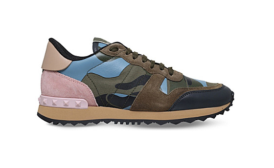 Valentino camouflage suede-and-leather sneakers, $795. (Photo: Selfridges&Co.)