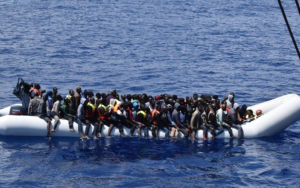 Migrants and refugees rescued by the Italian Navy off the coast of Libya - AFP