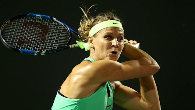 Lucie Safarova hopes of a Prague Open title defence are over, while Caroline Wozniacki and Samantha Stosur are also out.
